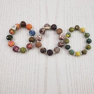 Viva Beads Clay Bead Stretch Bracelet Lot of 3